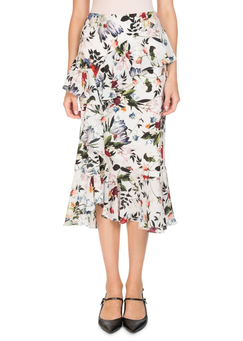 Erdem Lucien Tie-Neck Long-Sleeve Floral-Print Silk Blouse &