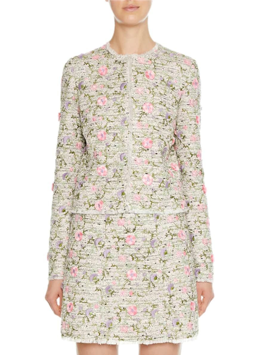 Giambattista Valli Floral-Embroidered Tweed Jacket & Matching