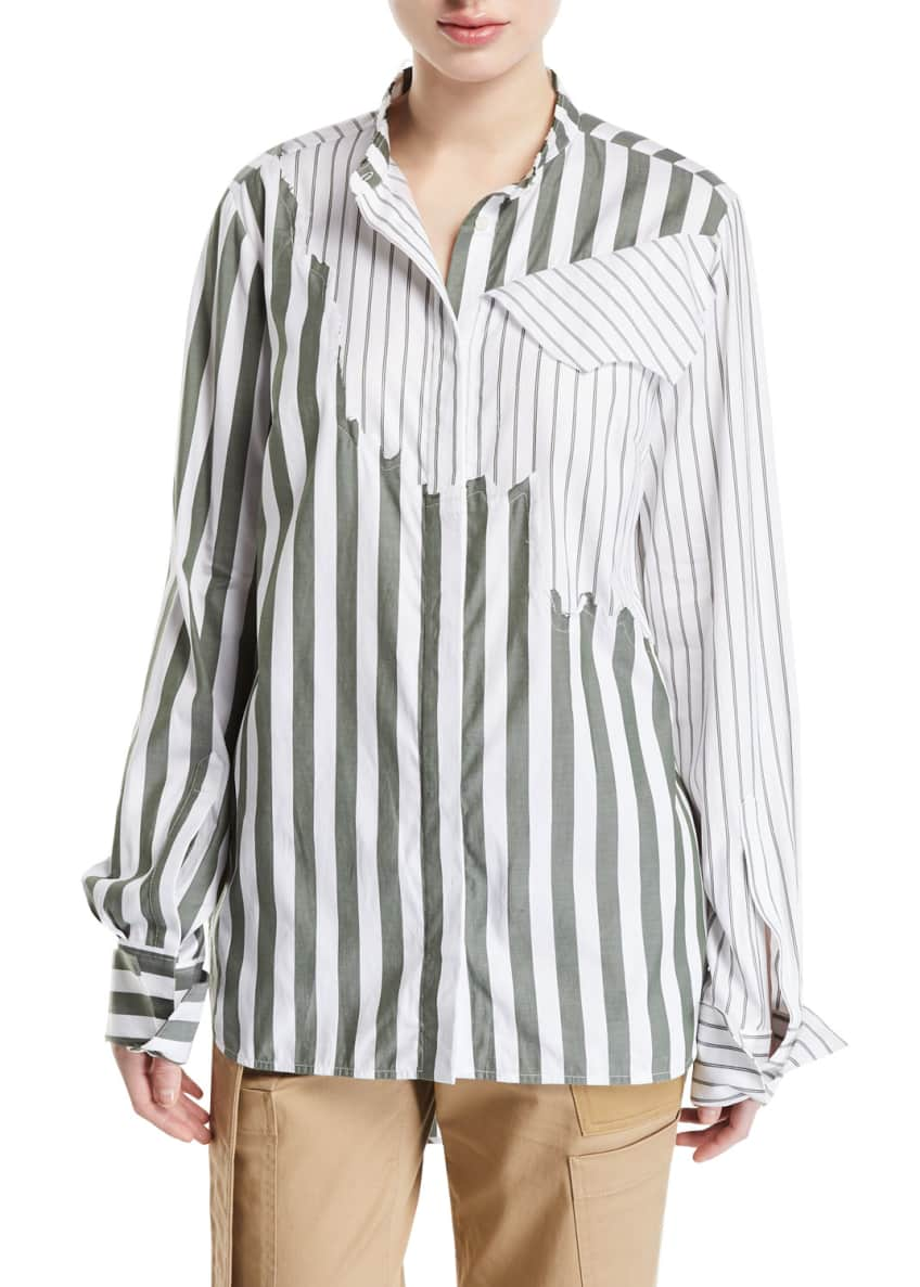 Monse Olive Torn Mixed-Stripe Button-Front Shirt & Matching