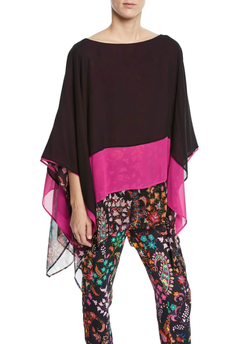 Etro Colorblocked Floral-Hem Silk Poncho & Matching Items