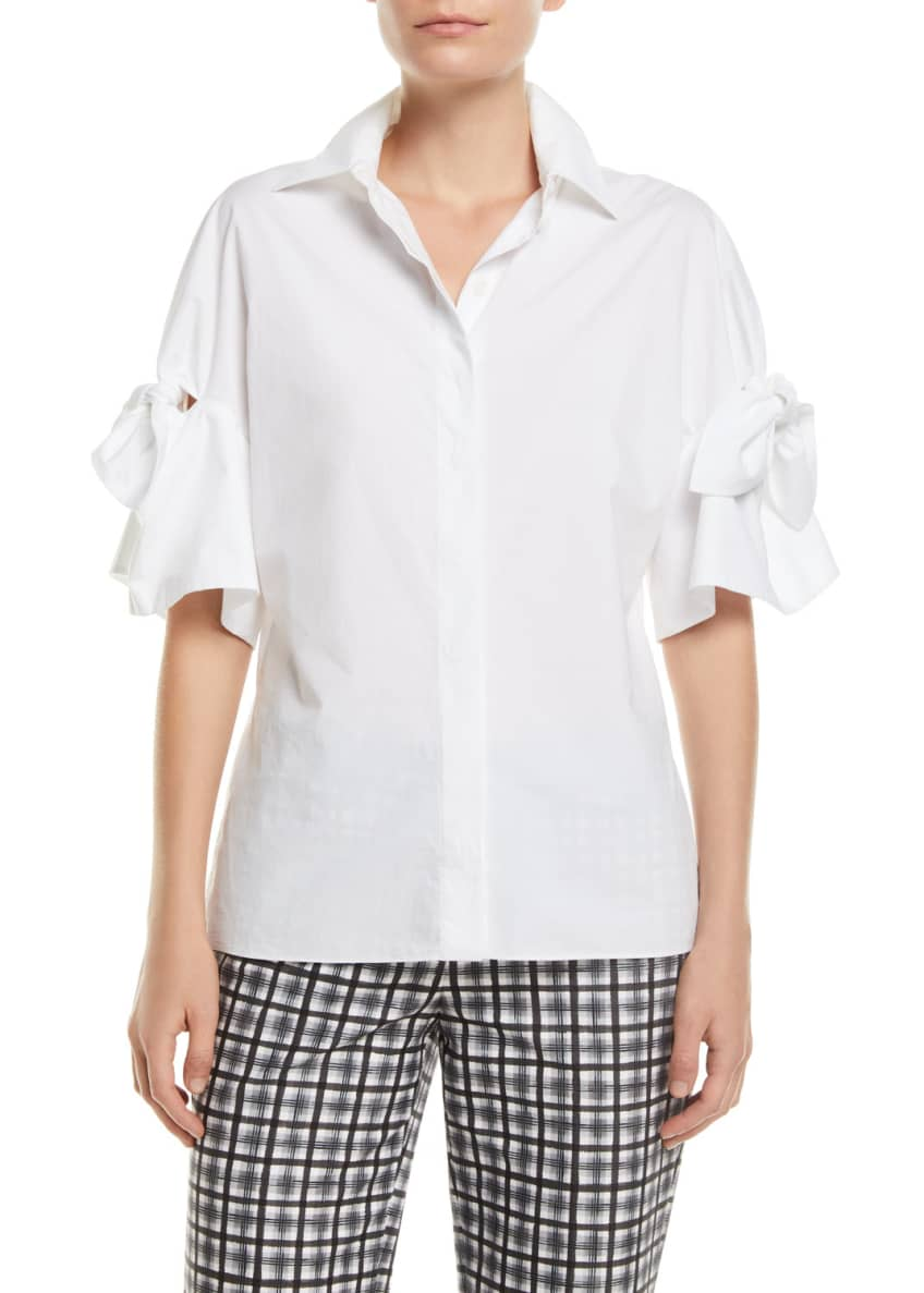 Michael Kors Collection Tie-Sleeve Button-Front Cotton Poplin