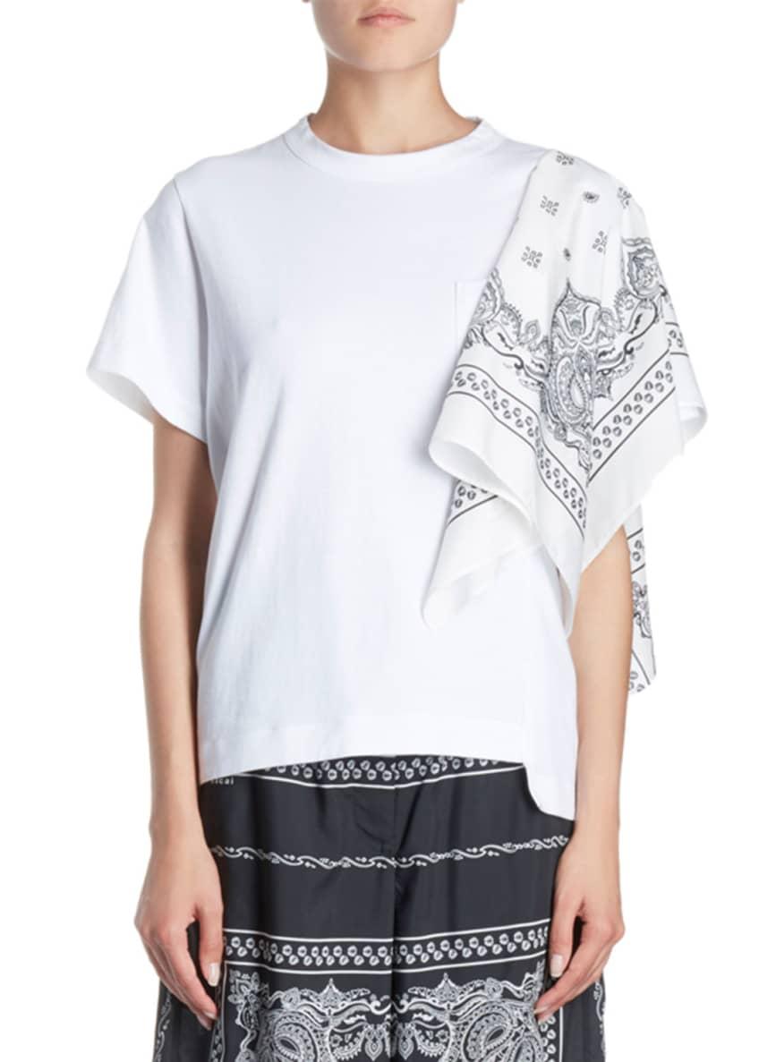SACAI Bandana-Sleeve One-Pocket Crewneck Short-Sleeve Cotton Tee