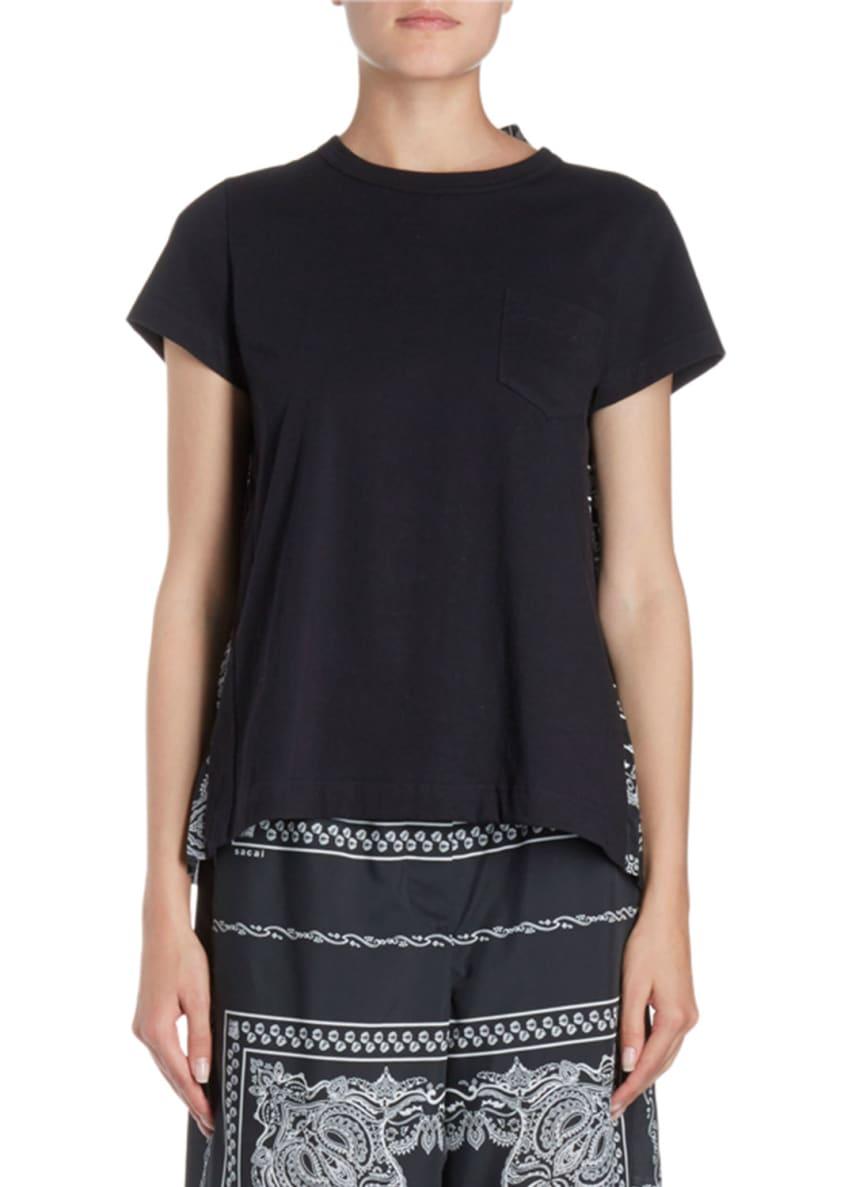 SACAI Bandana-Print Pleated Back Crewneck Short-Sleeve Tee &