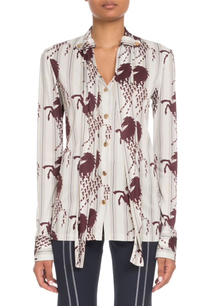 Chloe Long-Sleeve Button-Front Horse-Print Viscose Jersey Blouse