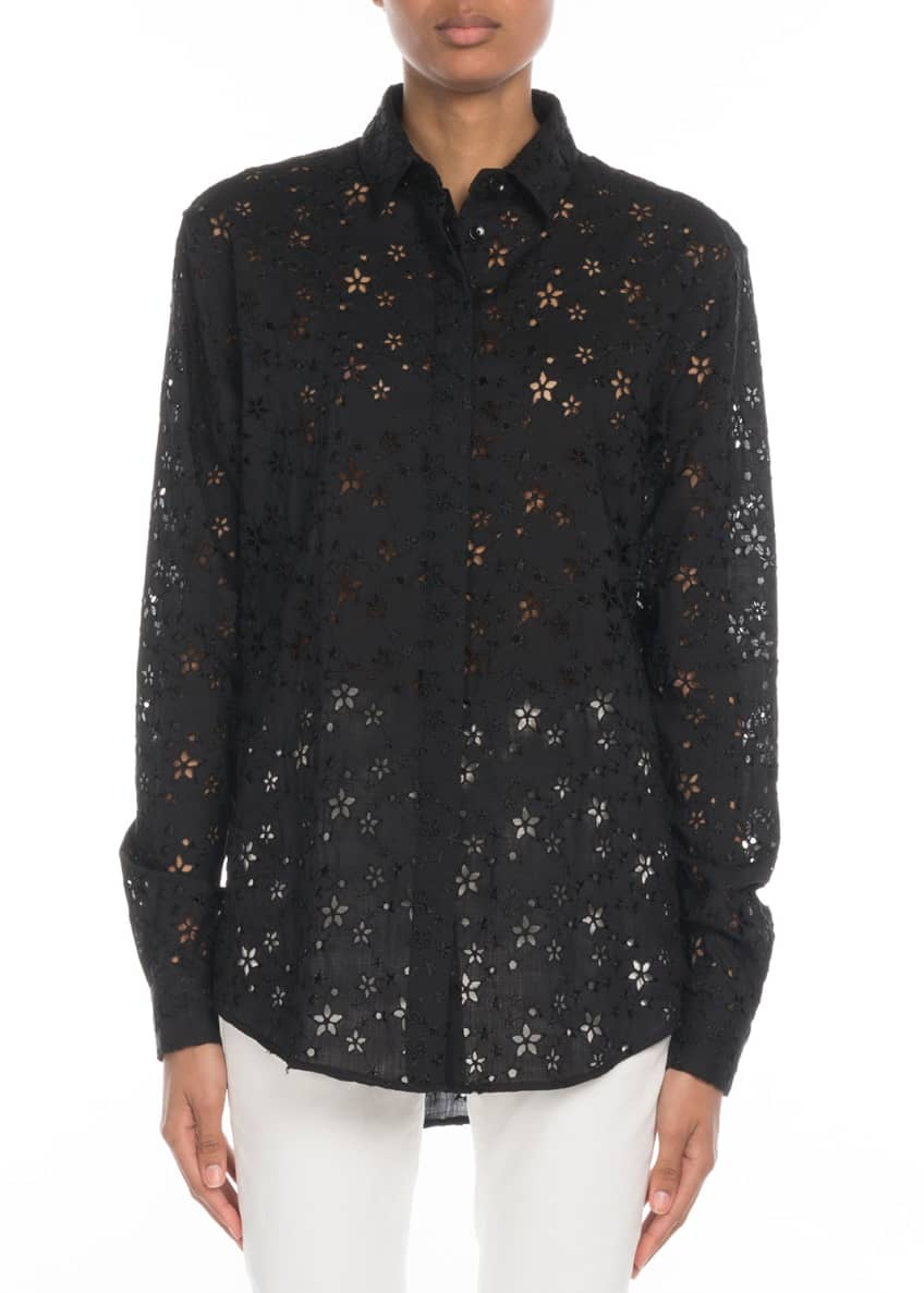 Star-Embroidered Eyelet Button-Front Blouse