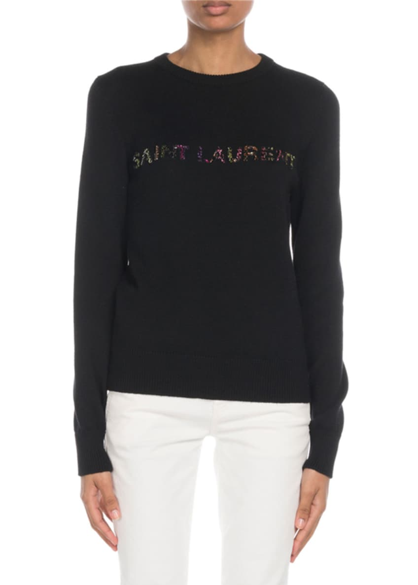 Saint Laurent Crewneck Glitter-Logo Wool Sweater & Matching
