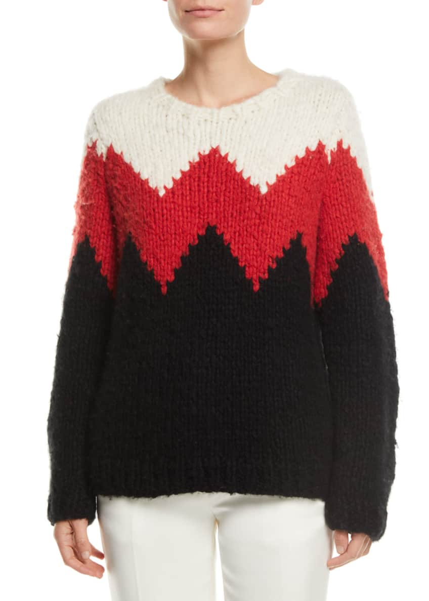Gabriela Hearst Crewneck Zigzag Cashmere Fluff Sweater &