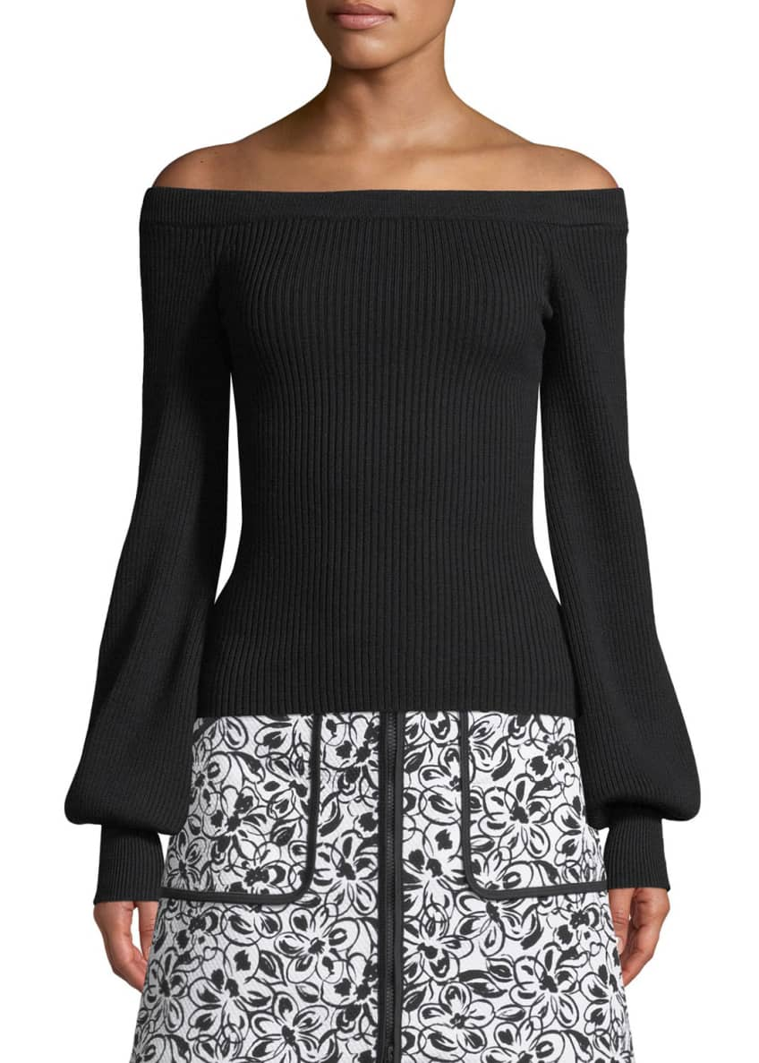 Michael Kors Collection Off-the-Shoulder Blouson-Sleeve Ribbed