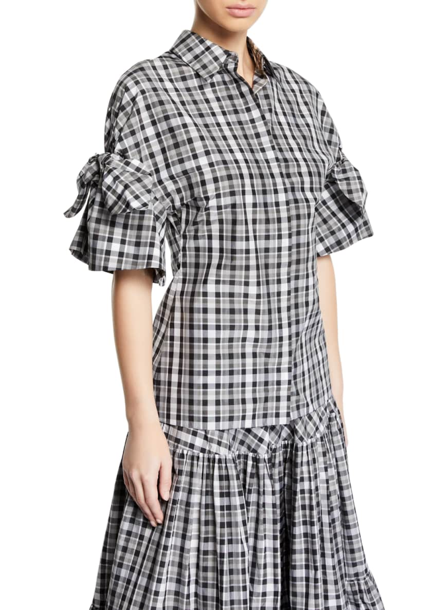 Michael Kors Collection Tie-Sleeve Madras-Plaid Button Front