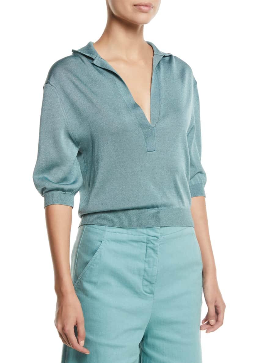 Tibi Demi Wide-Leg Garment-Dyed Twill Cropped Jeans &