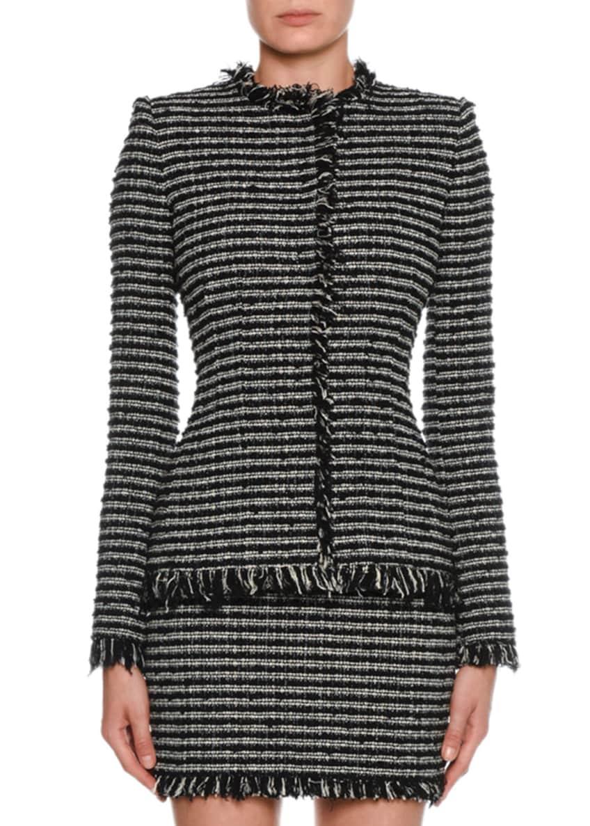 Alexander McQueen Tweed Striped Crewneck Jacket & Matching
