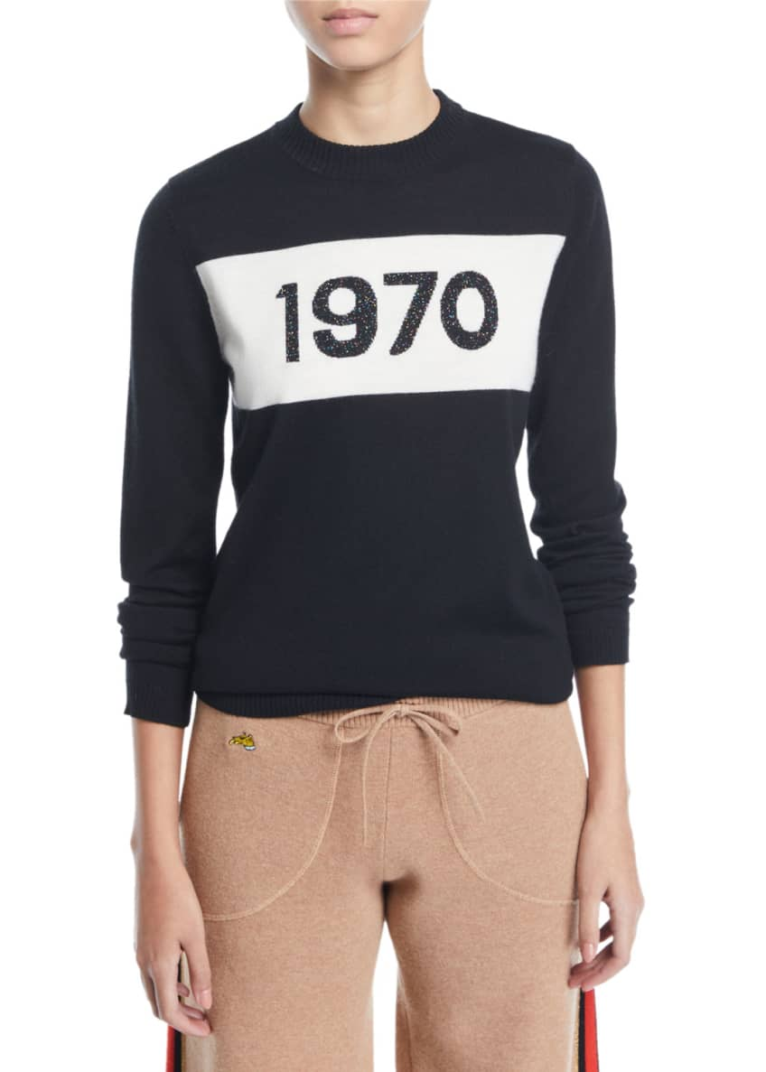 Bella Freud 1970 Sparkle Graphic Wool Sweater &