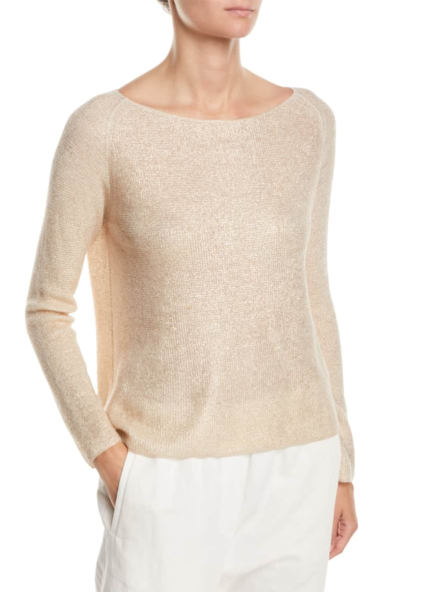 Forte Forte Boat-Neck Long-Sleeve Cashmere-Silk Top & Matching