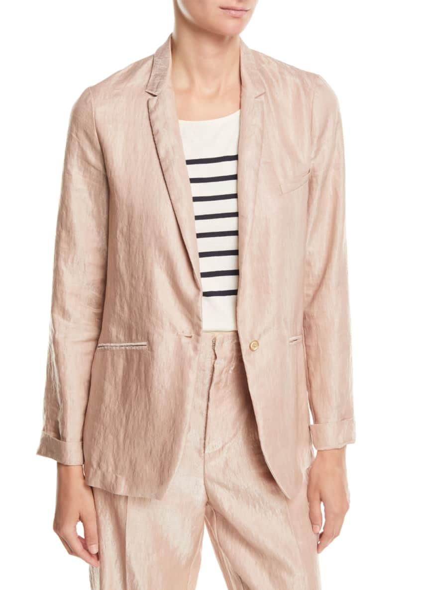 Forte Forte Iridescent Linen Satin Single-Button Jacket &