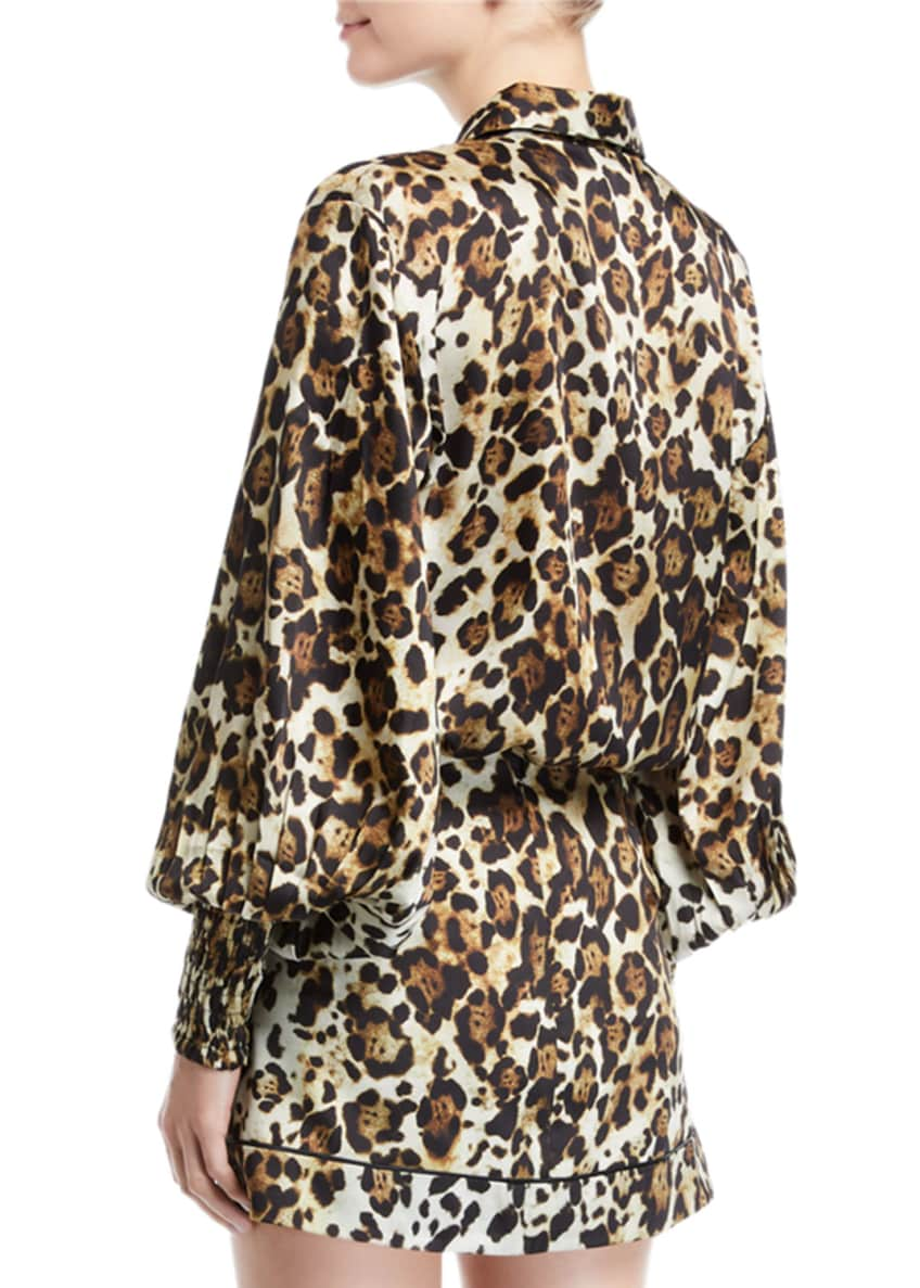 Image 2 of 4: Romana Leopard-Print Button-Down Top