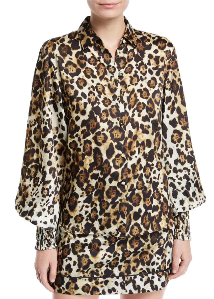 Image 1 of 4: Romana Leopard-Print Button-Down Top