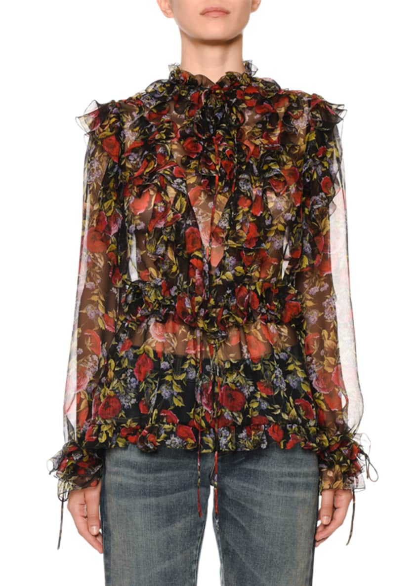 Dolce & Gabbana Ruffle Tie-Neck Long-Sleeve Floral-Print Silk
