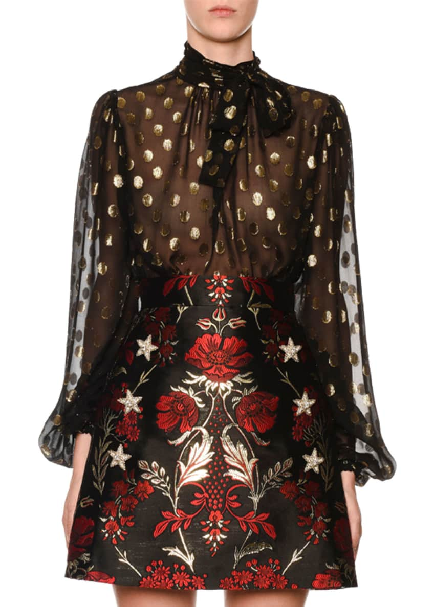 Dolce & Gabbana Long-Sleeve Tie-Neck Dotted Fil Coupe