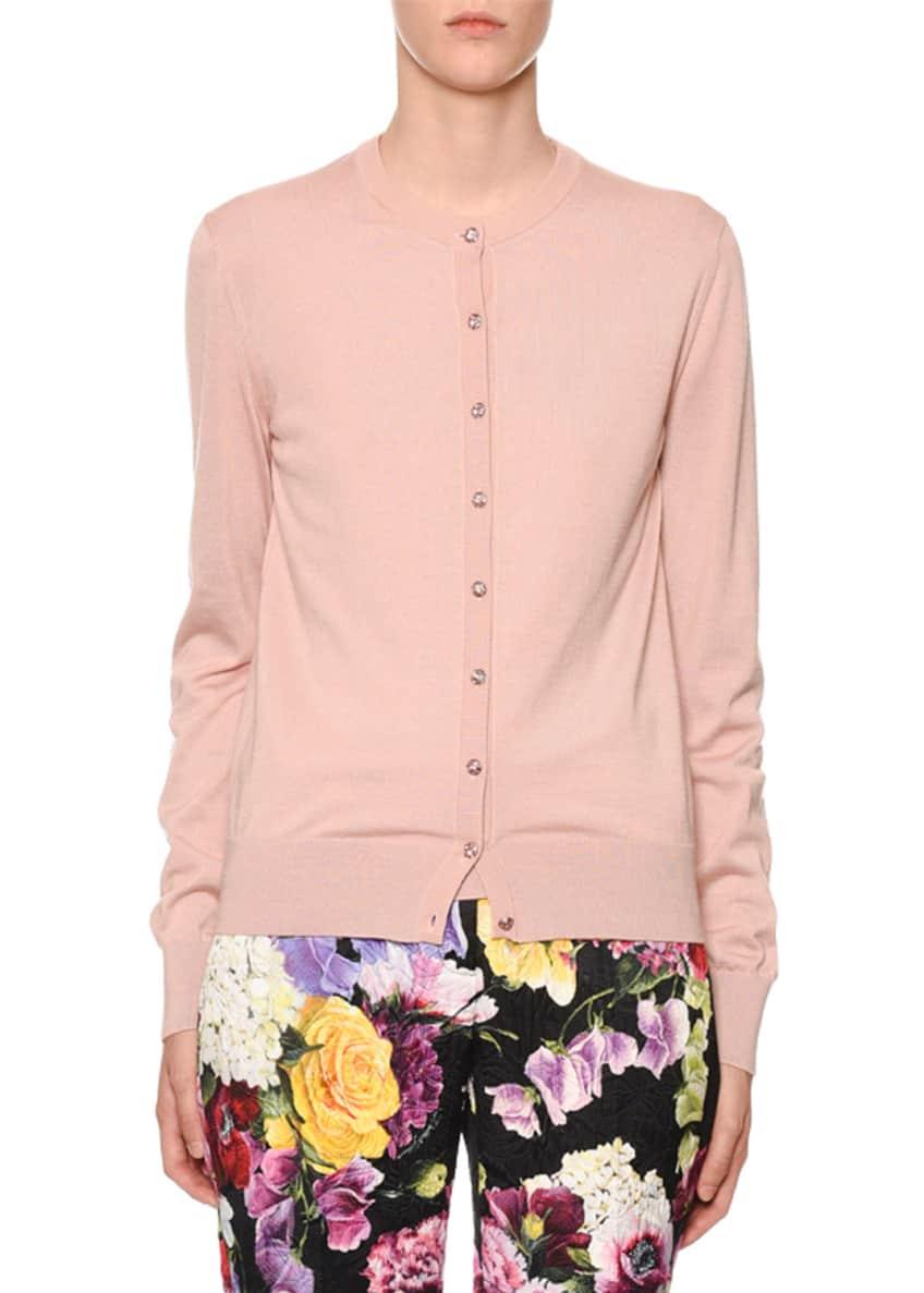 Dolce & Gabbana Long-Sleeve Jewel-Button Cashmere-Silk Cardigan &