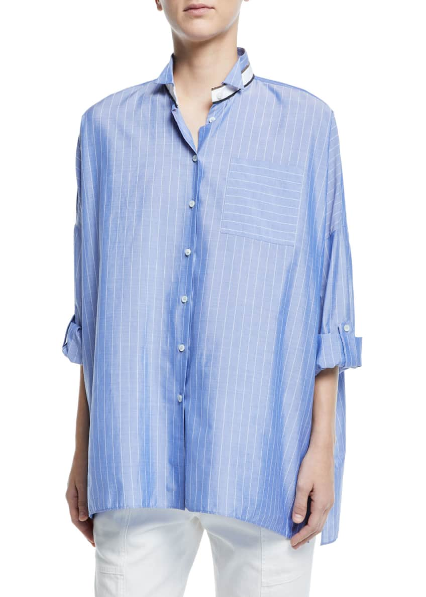 Brunello Cucinelli Chambray Button-Front Banded Collar Blouse &