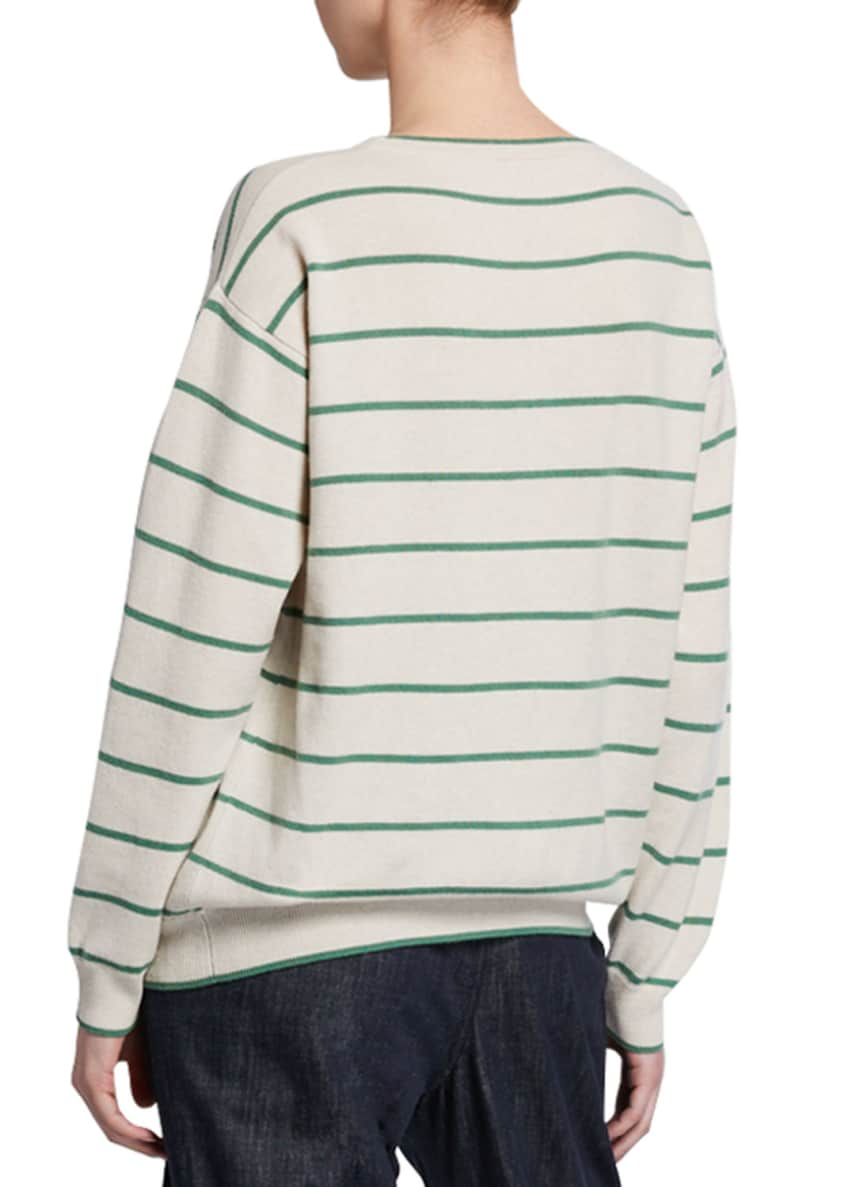 Image 2 of 2: Striped Wool-Cashmere Crewneck Sweater