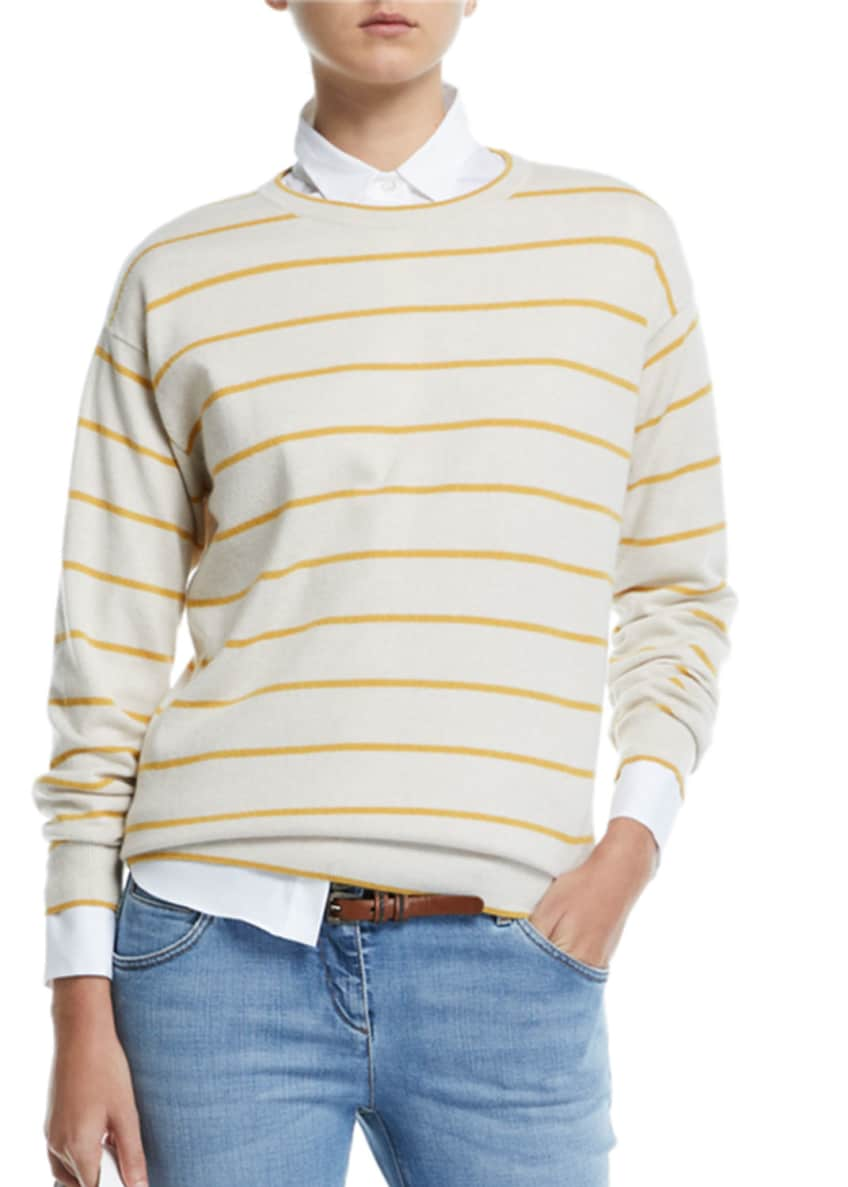 Image 1 of 2: Striped Wool-Cashmere Crewneck Sweater