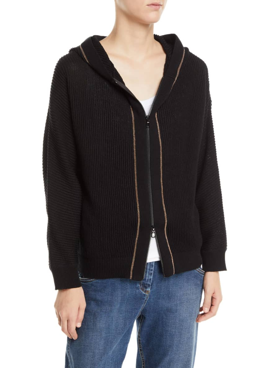 Brunello Cucinelli Monili-Beaded English-Ribbed Cotton Hoodie &