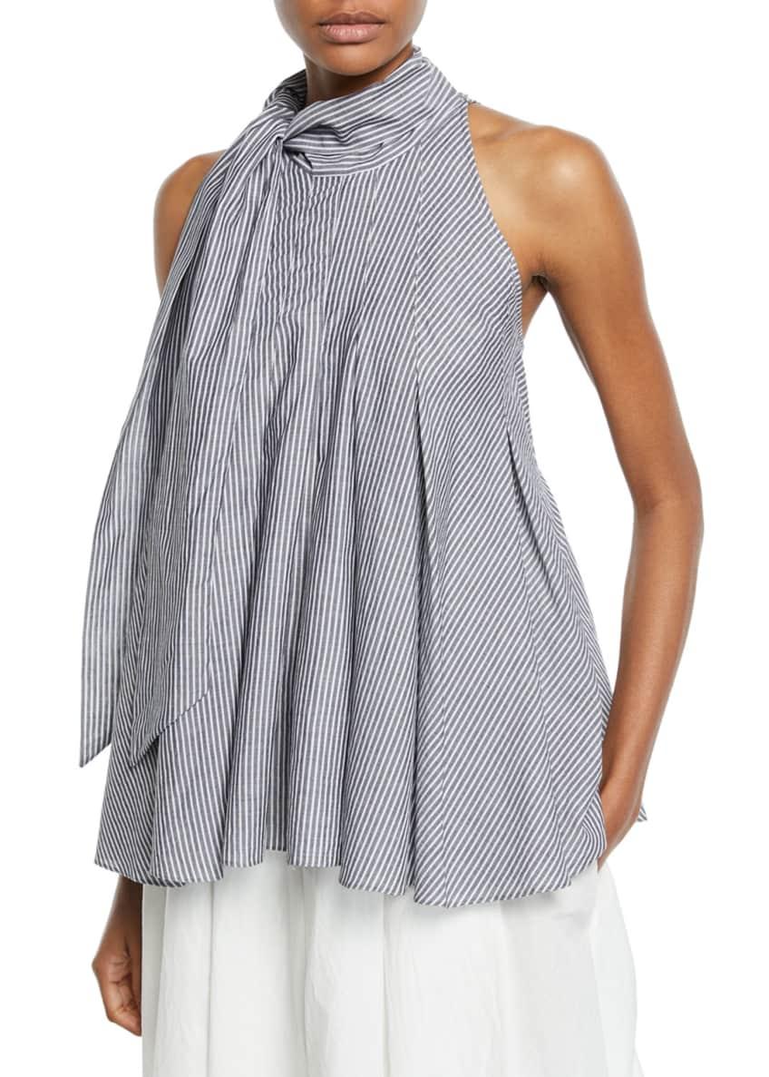 Brunello Cucinelli Tie-Neck Striped Cotton Sleeveless Blouse &