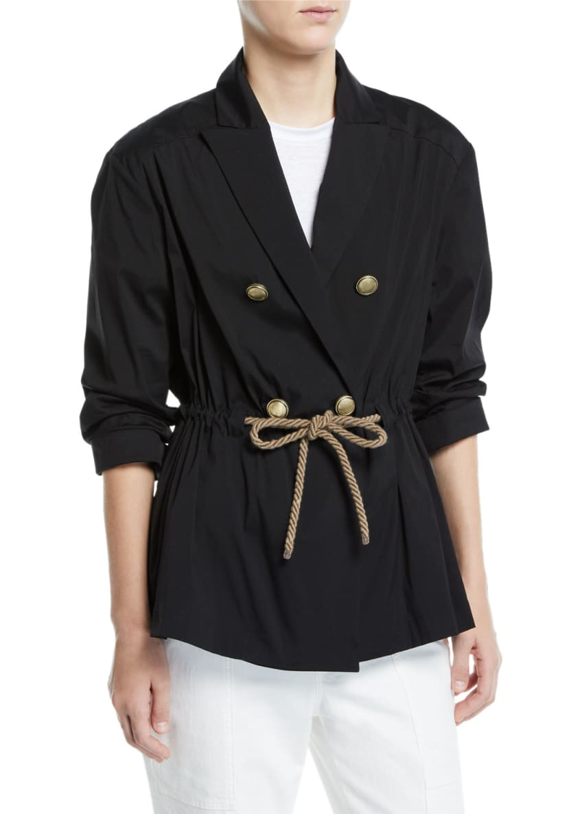 Brunello Cucinelli Rope-Waist Double-Breasted Poplin Blazer &
