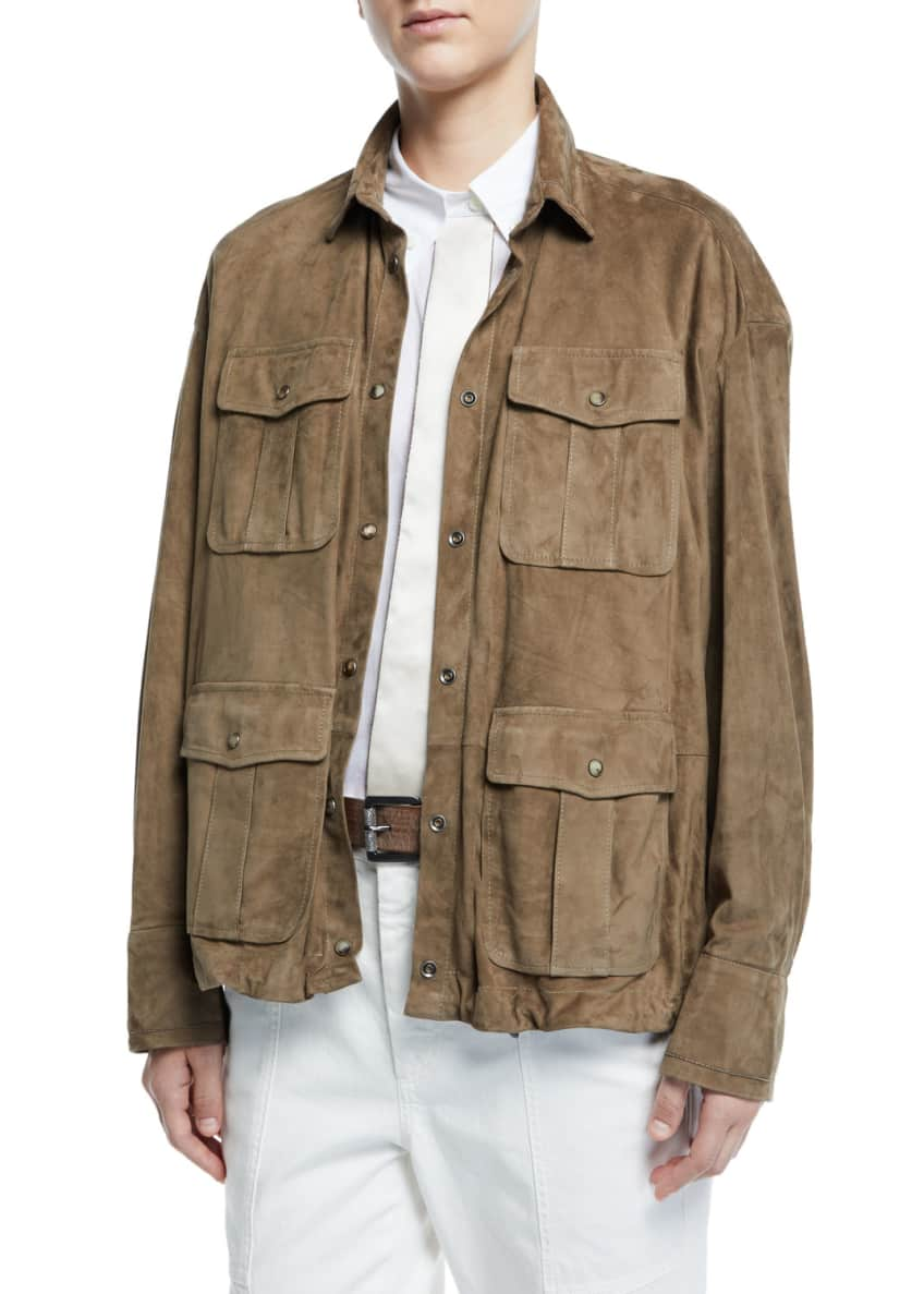 Brunello Cucinelli Suede Drawstring-Hem Safari Jacket & Matching