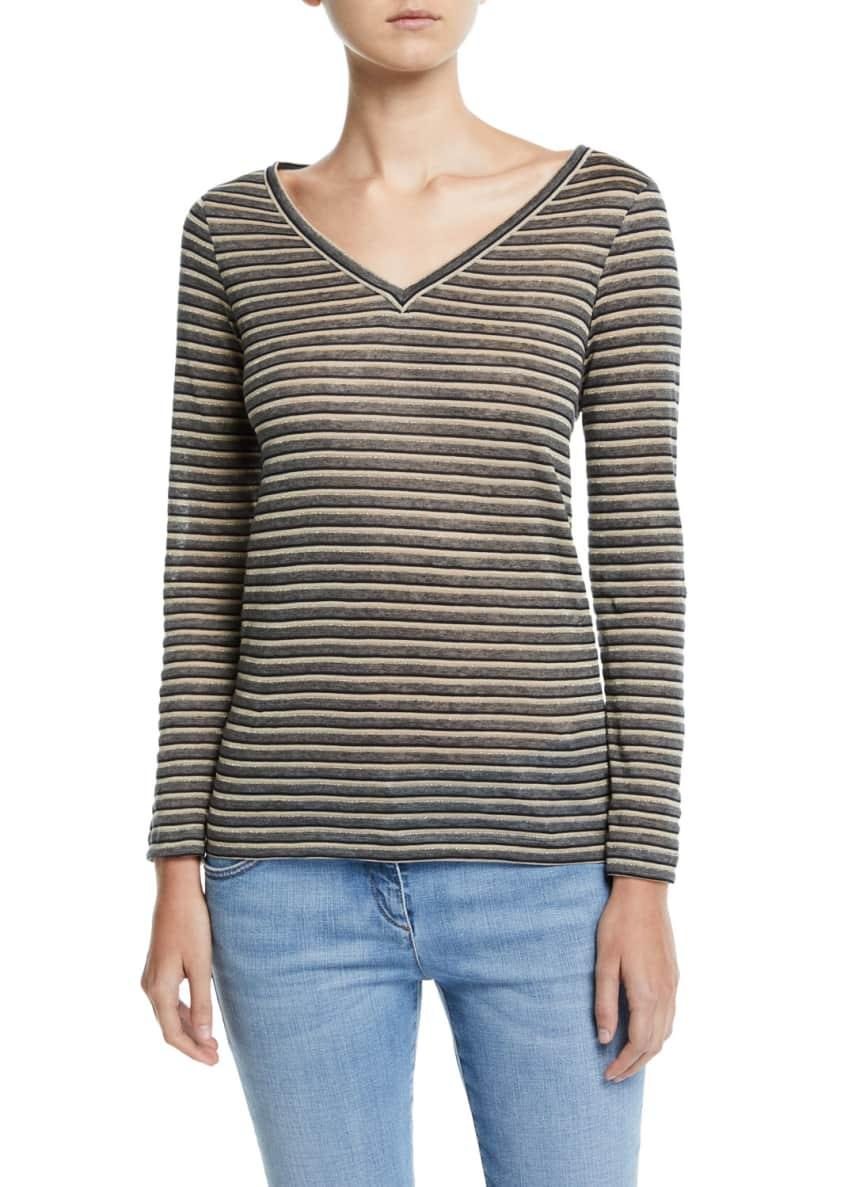 Brunello Cucinelli Long-Sleeve Shimmer-Striped V-Neck Top &