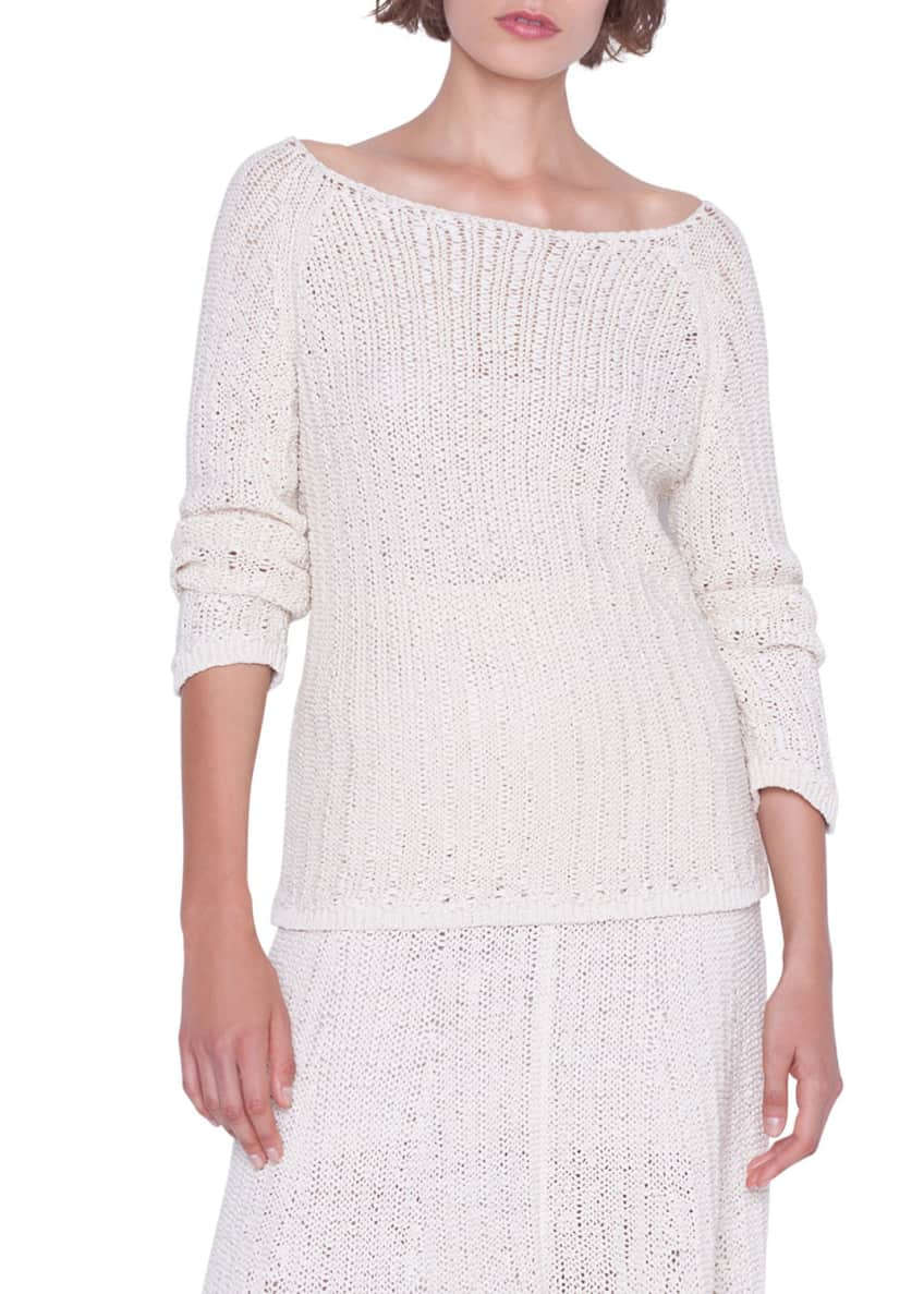 Akris Off-the-Shoulder Cotton Knit Pullover Sweater & Matching