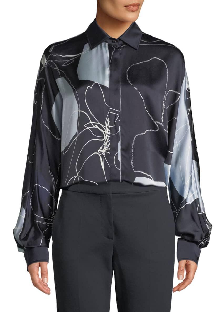 Maxmara Renna Abstract-Print Silk Button-Front Blouse & Matching