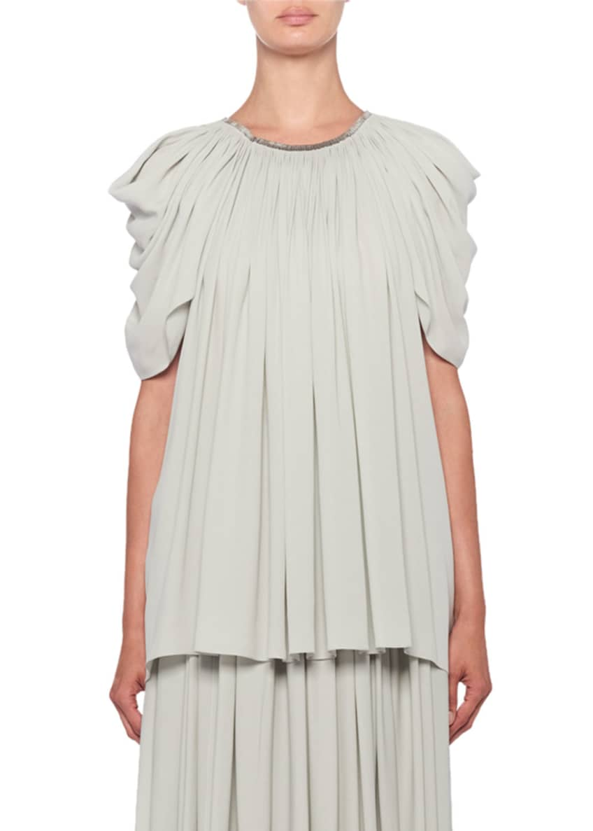 THE ROW Taya Pleated Ruched Short-Sleeve Top &