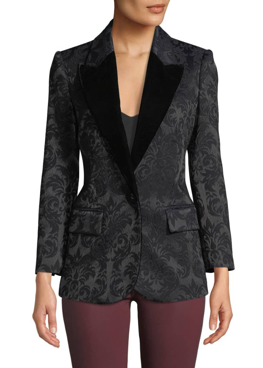Image 3 of 3: Neval Jacquard Suiting Blazer with Contrast Lapels