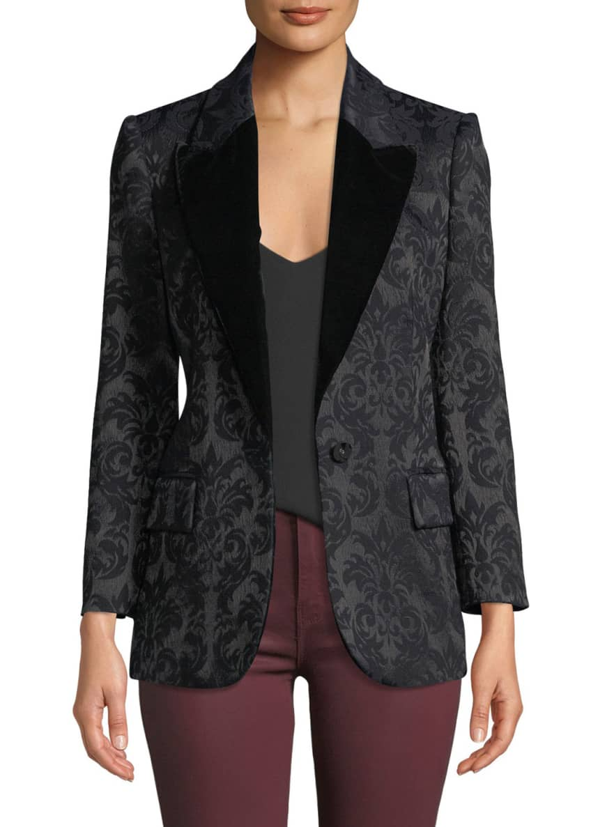 Image 1 of 3: Neval Jacquard Suiting Blazer with Contrast Lapels