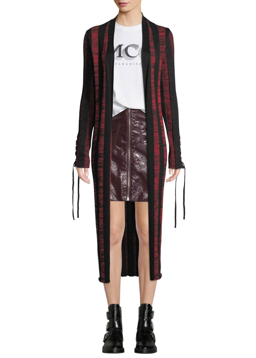 McQ Alexander McQueen Bodycon Striped Lace-Up Cardigan &