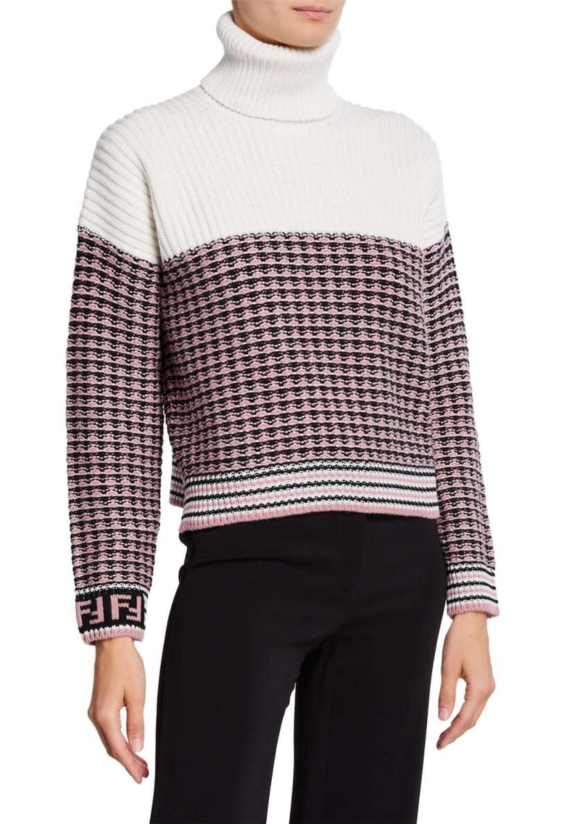 Fendi Colorblocked Wool Turtleneck Sweater & Matching Items
