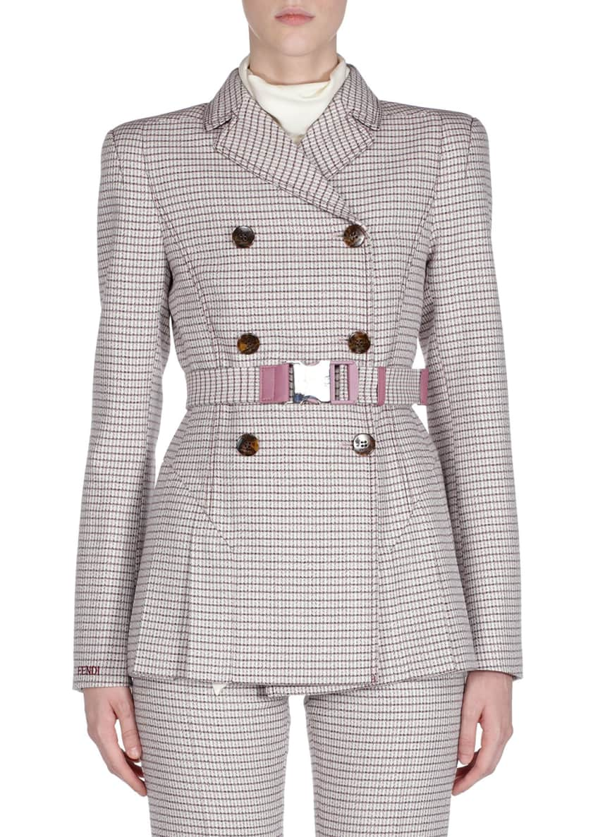 Fendi Belted Checkered Double-Breasted Jacket & Matching Items