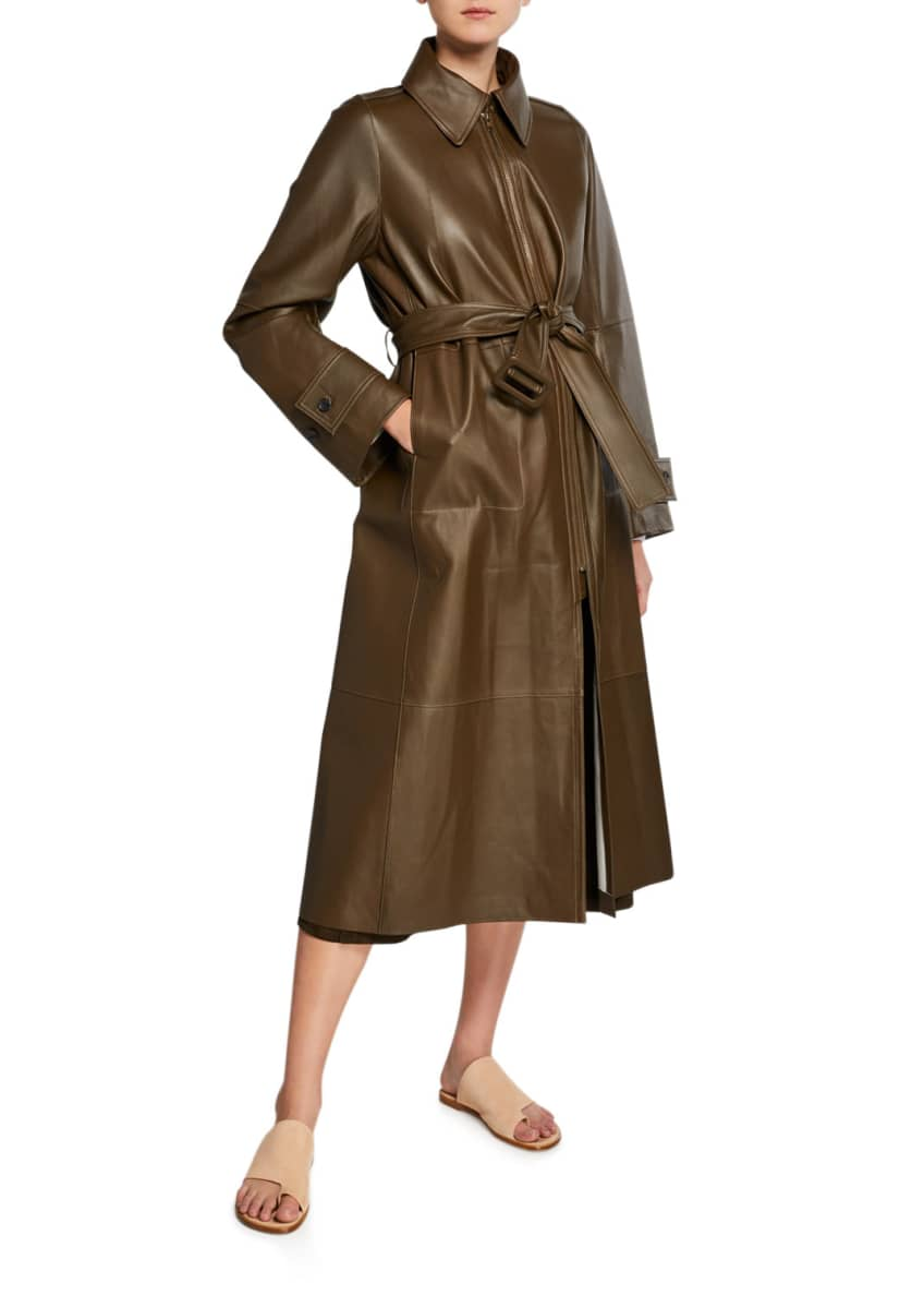 Vince Long Double-Face Leather Trench Coat & Matching