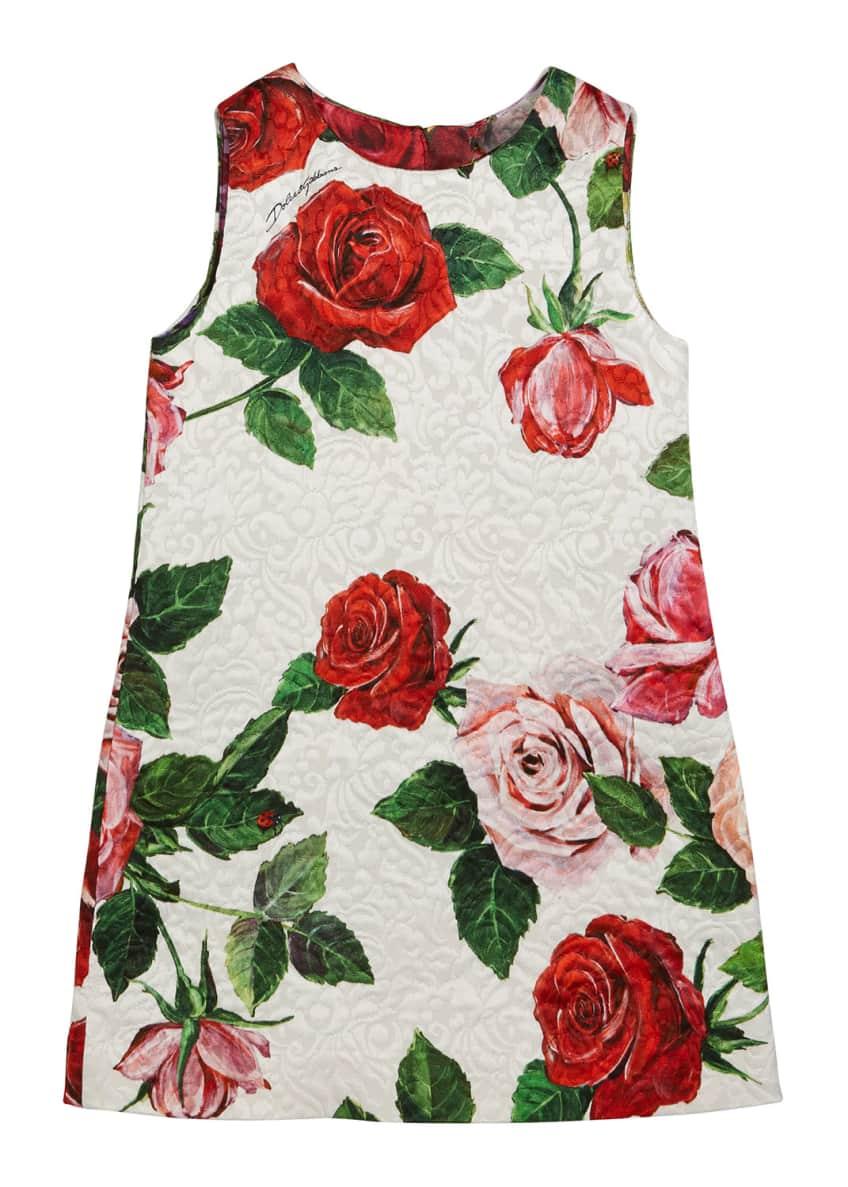 Dolce & Gabbana Floral Mixed Brocade Dress, Size