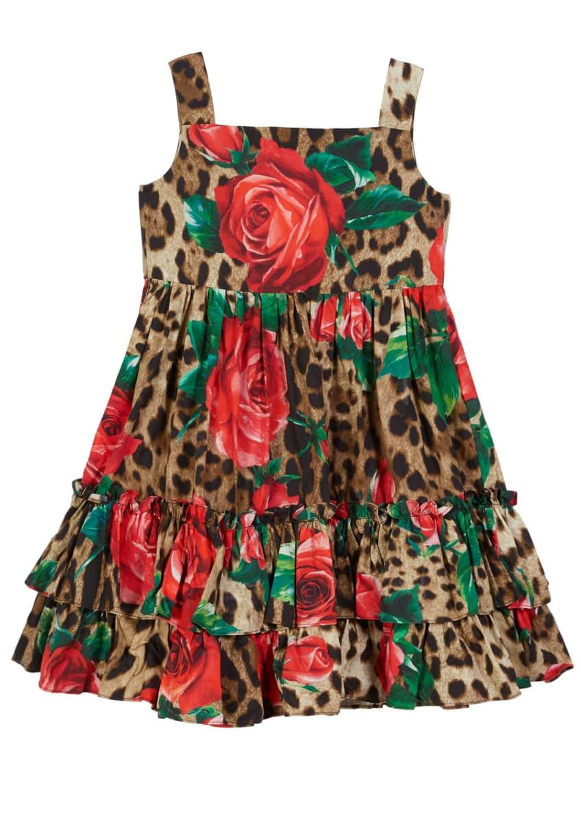 Dolce & Gabbana Leopard & Rose-Print Ruffle-Hem Dress,