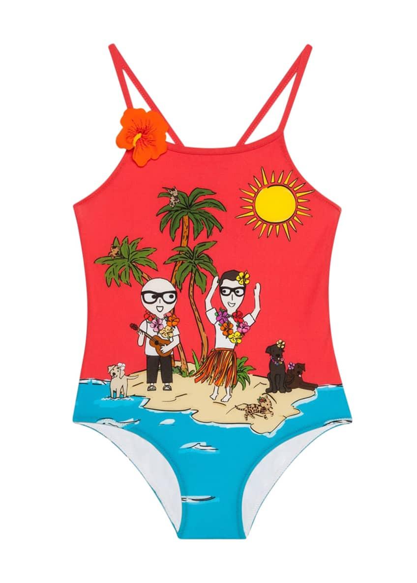 Dolce & Gabbana Beach Scene One-Piece Swimsuit &