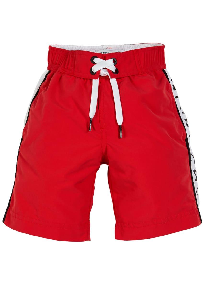Givenchy Logo-Sides Swim Trunks, Size 12-14 & Matching