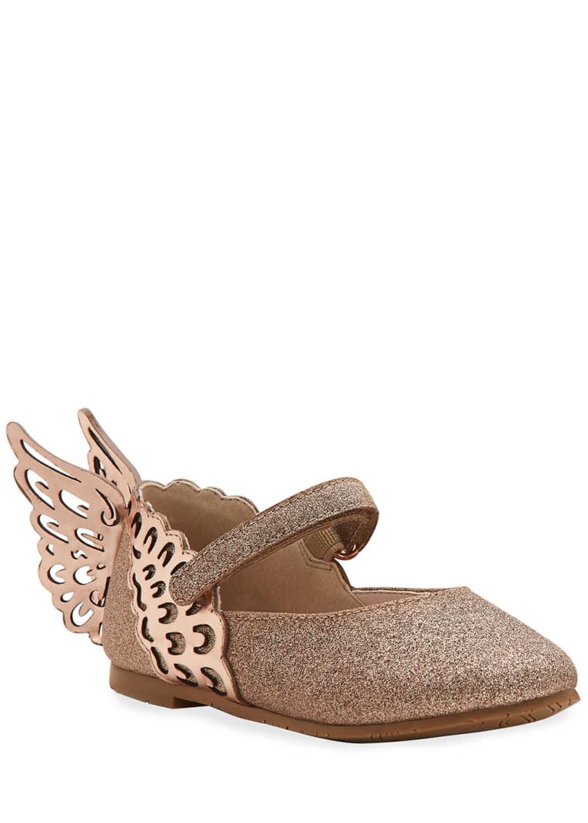 Sophia Webster Evangeline Glittered Butterfly-Wing Flats, Toddler
