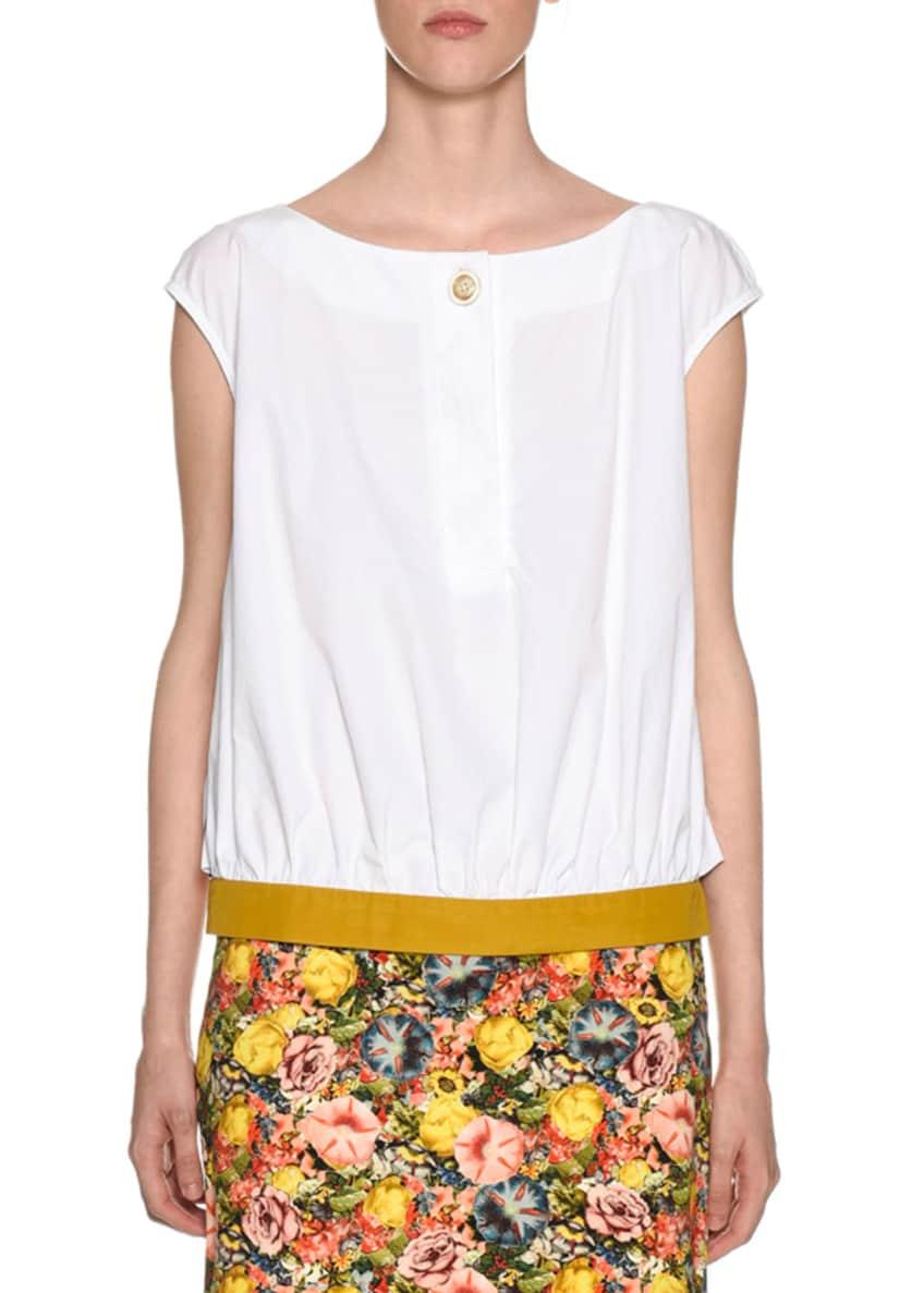 Marni One-Button Woven Cotton Contrast Hem Tank Top