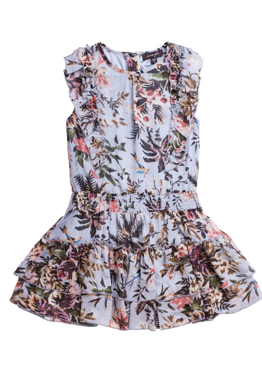 Imoga Floral-Print Chiffon Ruffle-Trim Dress, Size 4-6 &