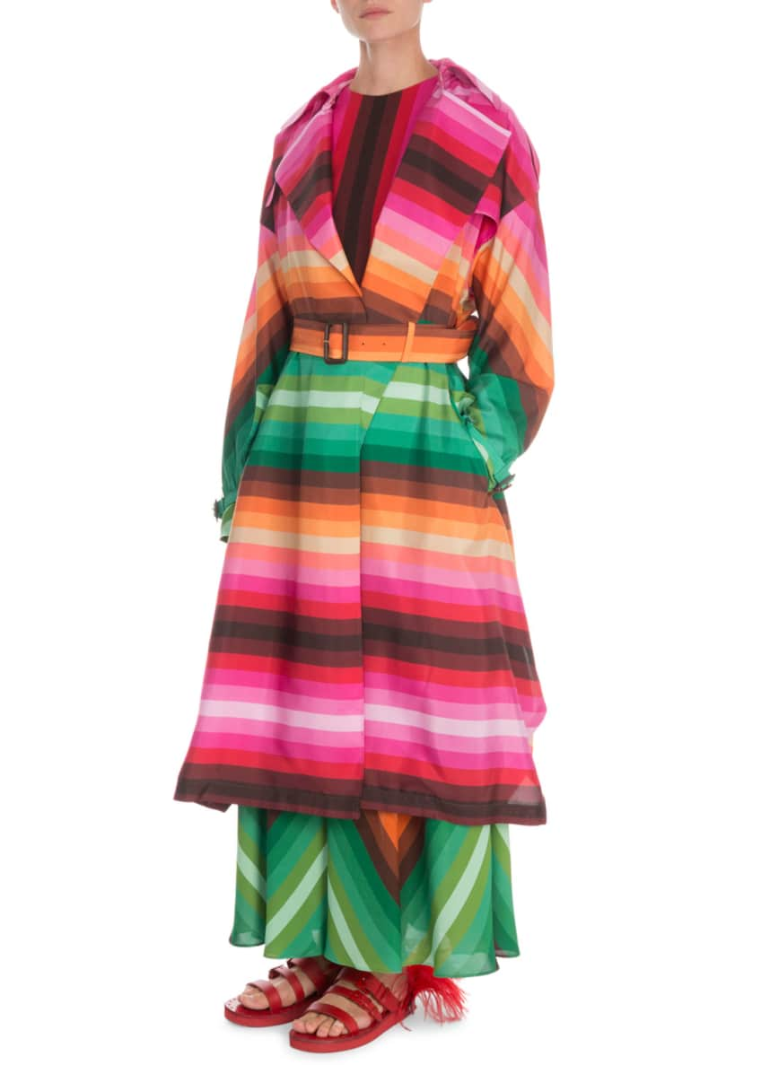 Valentino Striped Silk Trench Coat & Matching Items