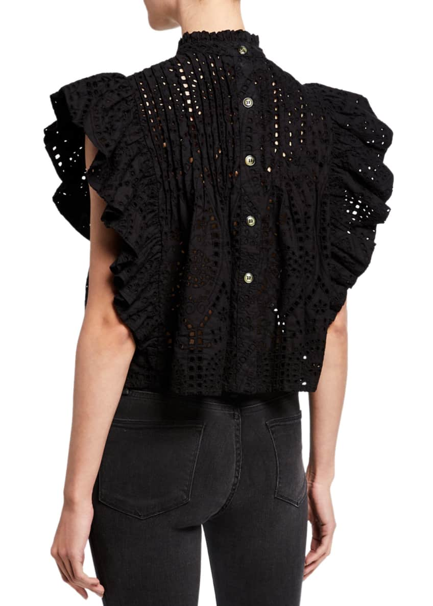 Image 2 of 4: High-Neck Cropped Eyelet Ruffle Top