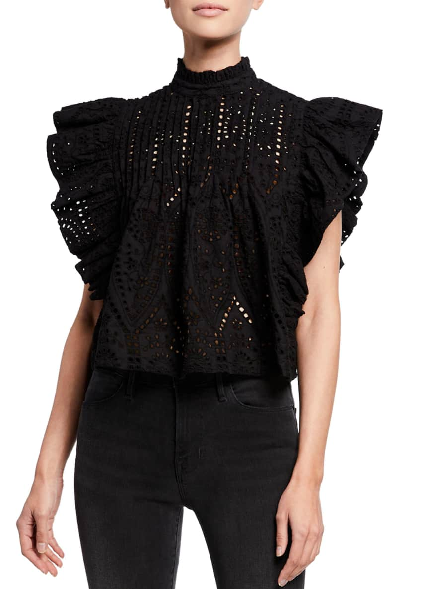 Image 1 of 4: High-Neck Cropped Eyelet Ruffle Top